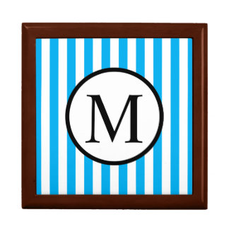 Simple Monogram with Blue Vertical Stripes Gift Box