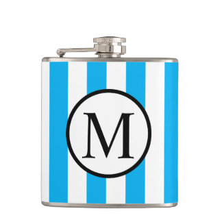 Simple Monogram with Blue Vertical Stripes Hip Flask