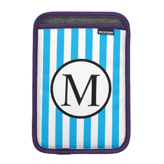 Simple Monogram with Blue Vertical Stripes iPad Mini Sleeve