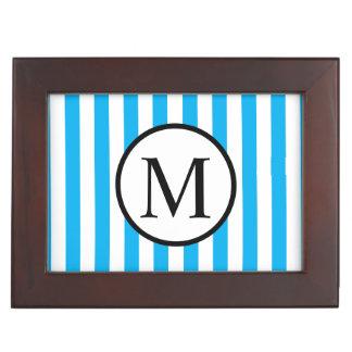 Simple Monogram with Blue Vertical Stripes Keepsake Box