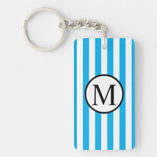 Simple Monogram with Blue Vertical Stripes Keychain