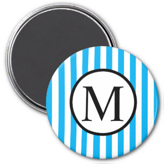 Simple Monogram with Blue Vertical Stripes Magnet