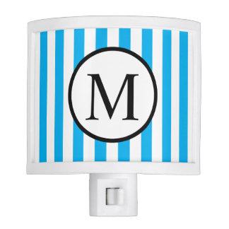Simple Monogram with Blue Vertical Stripes Nite Light