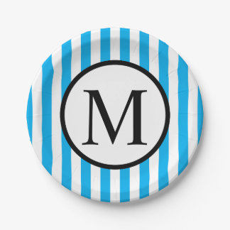 Simple Monogram with Blue Vertical Stripes Paper Plate