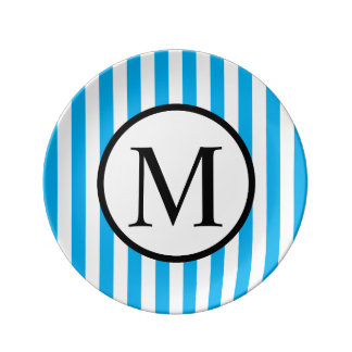 Simple Monogram with Blue Vertical Stripes Plate