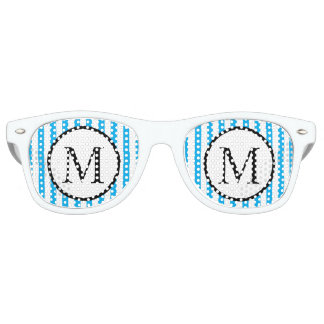 Simple Monogram with Blue Vertical Stripes Retro Sunglasses