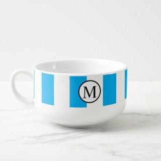 Simple Monogram with Blue Vertical Stripes Soup Mug