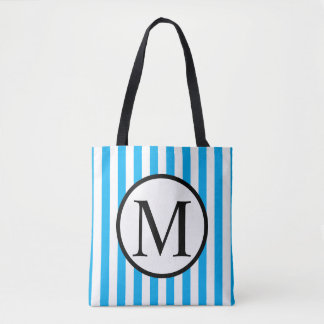 Simple Monogram with Blue Vertical Stripes Tote Bag