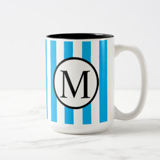 Simple Monogram with Blue Vertical Stripes Two-Tone Coffee Mug