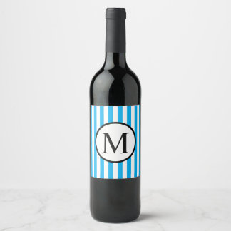 Simple Monogram with Blue Vertical Stripes Wine Label