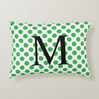 Simple Monogram with Green Polka Dots Decorative Pillow