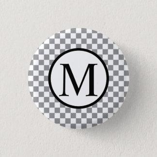 Simple Monogram with Grey Checkerboard 1 Inch Round Button