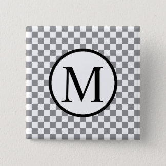 Simple Monogram with Grey Checkerboard 2 Inch Square Button