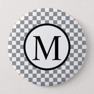 Simple Monogram with Grey Checkerboard 4 Inch Round Button