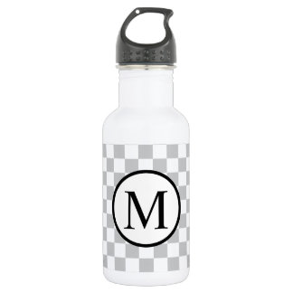 Simple Monogram with Grey Checkerboard 532 Ml Water Bottle