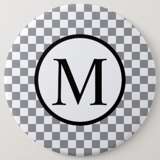 Simple Monogram with Grey Checkerboard 6 Inch Round Button