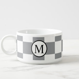 Simple Monogram with Grey Checkerboard Bowl