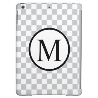 Simple Monogram with Grey Checkerboard Case For iPad Air