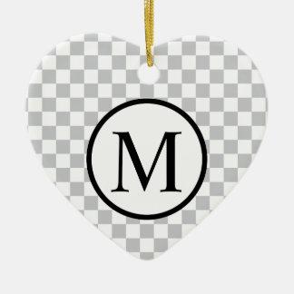 Simple Monogram with Grey Checkerboard Ceramic Heart Ornament