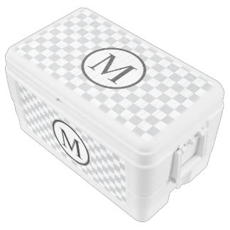 Simple Monogram with Grey Checkerboard Chest Cooler