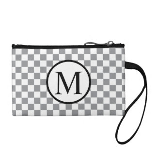 Simple Monogram with Grey Checkerboard Coin Purse