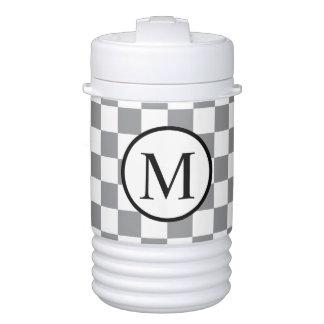 Simple Monogram with Grey Checkerboard Cooler