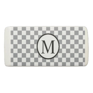 Simple Monogram with Grey Checkerboard Eraser