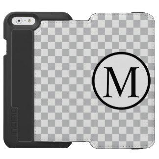 Simple Monogram with Grey Checkerboard Incipio Watson™ iPhone 6 Wallet Case