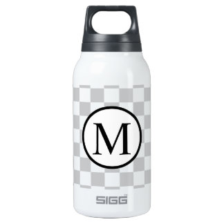 Simple Monogram with Grey Checkerboard Insulated Water Bottle