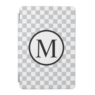 Simple Monogram with Grey Checkerboard iPad Mini Cover