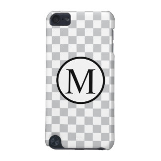 Simple Monogram with Grey Checkerboard iPod Touch (5th Generation) Cover