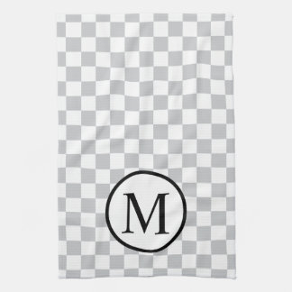 Simple Monogram with Grey Checkerboard Kitchen Towel