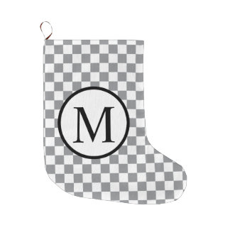 Simple Monogram with Grey Checkerboard Large Christmas Stocking