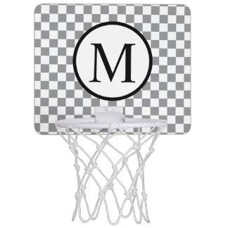 Simple Monogram with Grey Checkerboard Mini Basketball Hoop