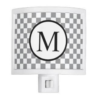Simple Monogram with Grey Checkerboard Nite Lights