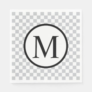 Simple Monogram with Grey Checkerboard Paper Napkin