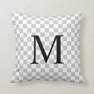 Simple Monogram with Grey Checkerboard Pattern Throw Pillow
