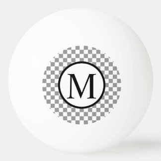 Simple Monogram with Grey Checkerboard Ping Pong Ball