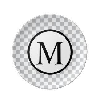 Simple Monogram with Grey Checkerboard Plate