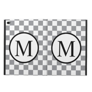 Simple Monogram with Grey Checkerboard Powis iPad Air 2 Case
