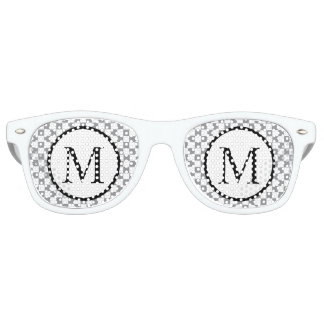 Simple Monogram with Grey Checkerboard Retro Sunglasses