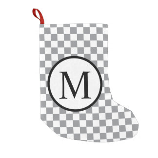 Simple Monogram with Grey Checkerboard Small Christmas Stocking