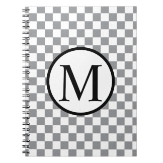 Simple Monogram with Grey Checkerboard Spiral Notebook