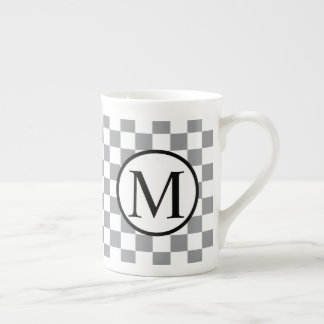 Simple Monogram with Grey Checkerboard Tea Cup
