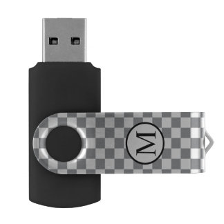 Simple Monogram with Grey Checkerboard USB Flash Drive