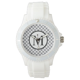 Simple Monogram with Grey Checkerboard Watches