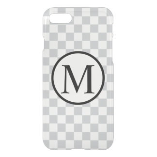 Simple Monogram with Grey Chequerboard iPhone 7 Case