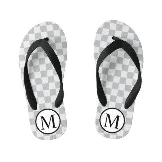 Simple Monogram with Grey Chequerboard Kid's Flip Flops