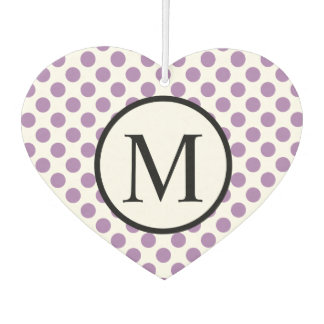 Simple Monogram with Lavender Polka Dots Car Air Freshener