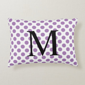 Simple Monogram with Lavender Polka Dots Decorative Pillow